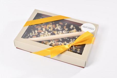 Chocolat noir à casser amandes, oranges et citrons confits 450g